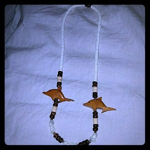 *Handmade Shell & Carved Wood Necklace from Hawaii